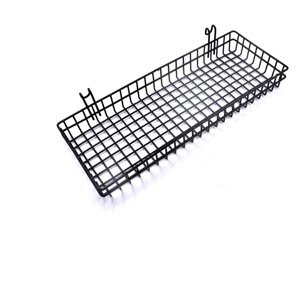 Straight Shelf Rack Gridwall Grid Panel Wall Mountable Wire Organizer Storage Flower Pot Display Decor 9.8 x 3.9 Black ZONYEO