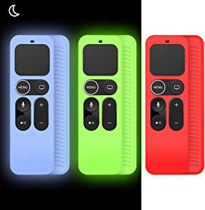 [3Pack] Protective Case for Apple TV 4K 5th 4th Gen Remote, Alquar[Anti-Slip/Anti-dust/Shockproof] Silicone Remote Case Holder Skin for Apple TV Siri Remote Control - Glow Green+Glow Blue+Red