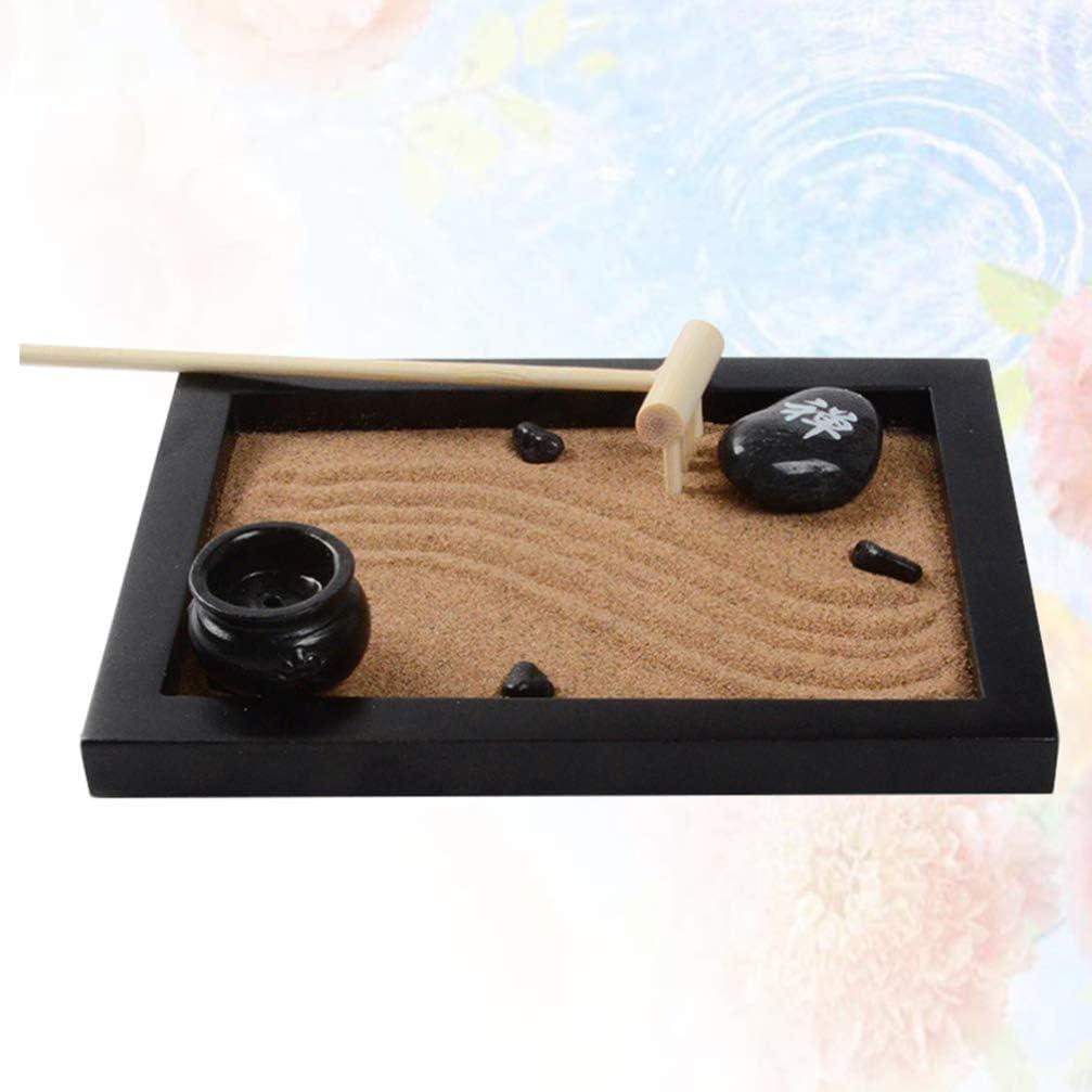 VOSAREA Mini Jardín Zen en Miniatura Juego de Miniaturas Japonesas Caja de Arena con Adornos de Madera Bandeja de Arena con Mini Rastrillo para Meditación Y Relajación (Estilo 1): Amazon.es: Deportes y
