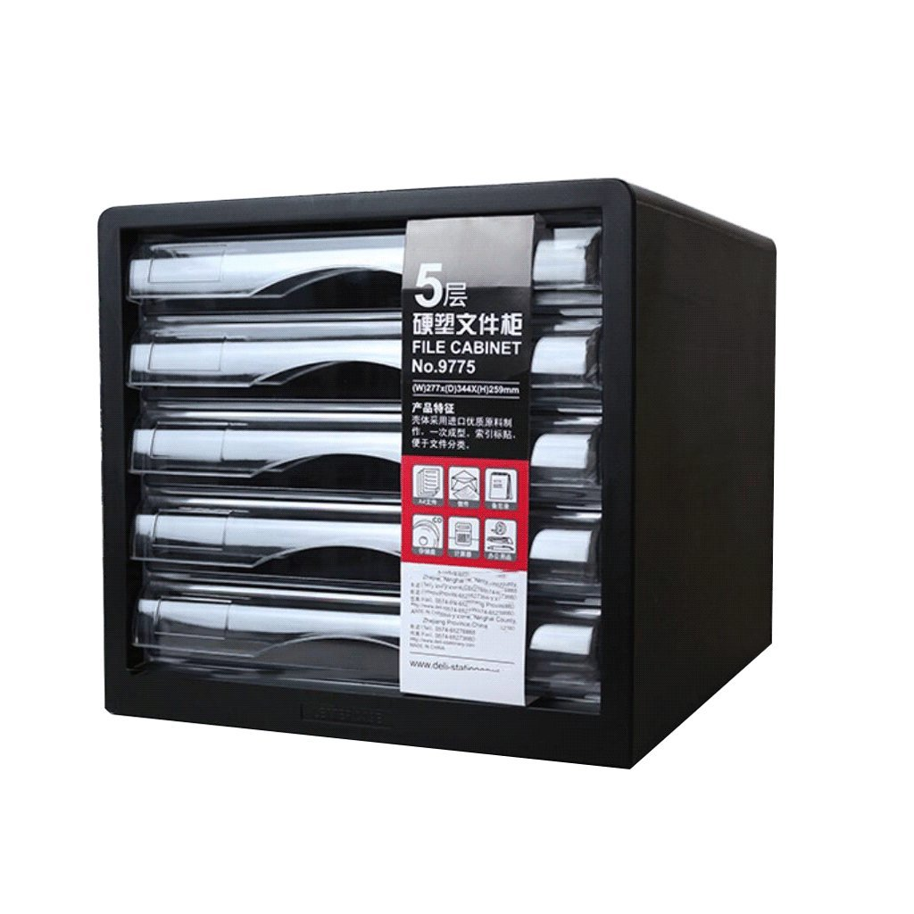 File Cabinets Desktop 5-Layer Plastic Office Storage A4 Filing DELICATEWNN (Color : Black)