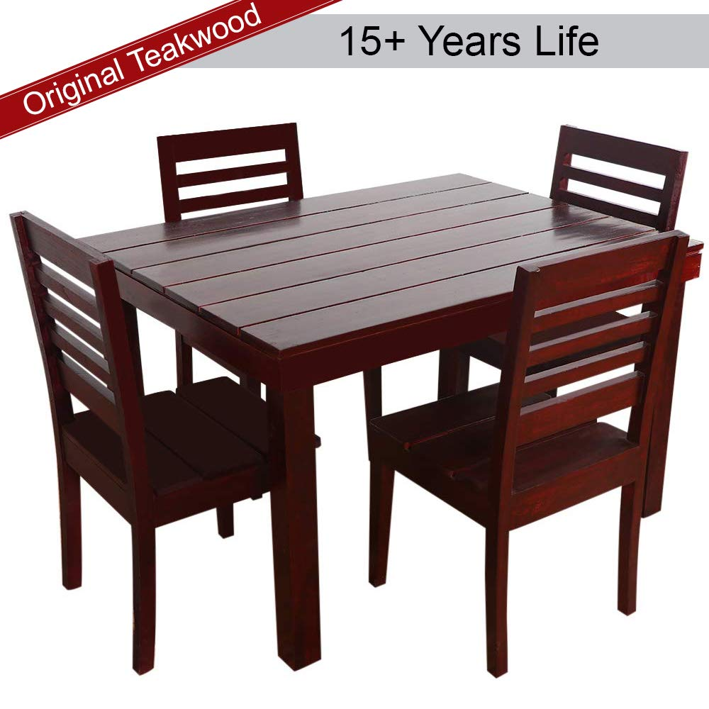 Furny Asian Solid Wood Teak Wood 4 Seater Dining Table Set Mohgany Polish Amazon In Electronics