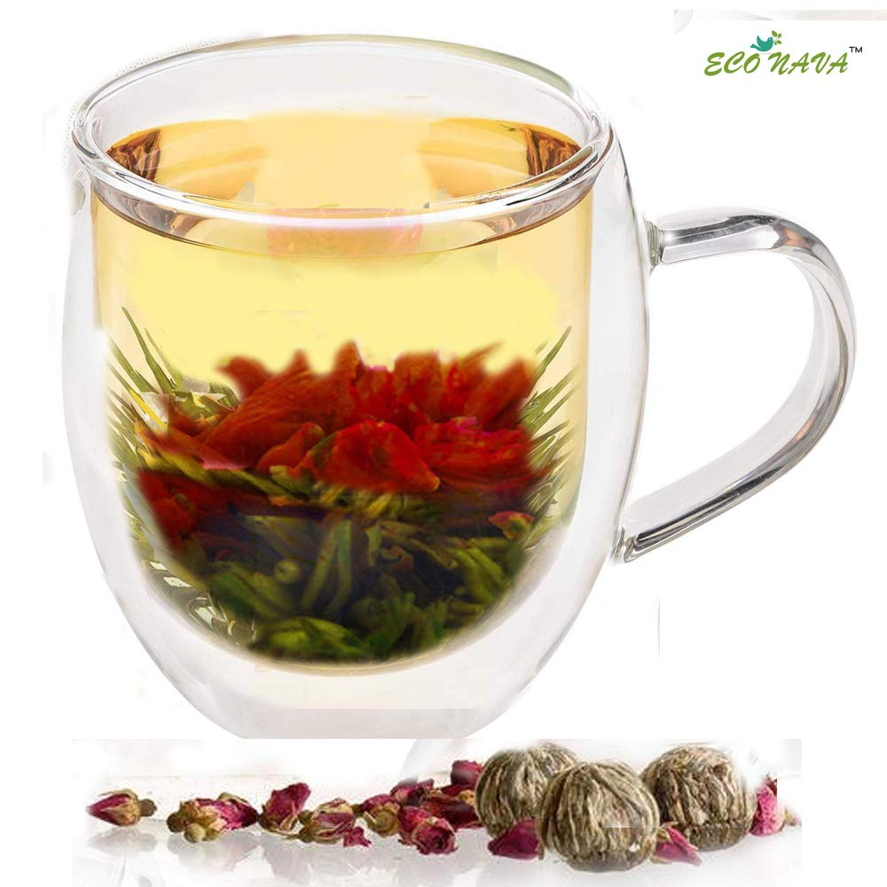 Tea Gift Double Walled Glass Cup 350ml with 2 Flowering Green Tea Balls Blooming
