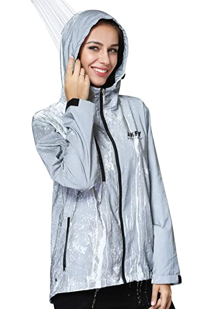 8a84c032f AKFLY Reflective Jacket with Hoodie and Waterproof Wind Breaker for Men  Women Hiking Cycling Running Safety Jacket