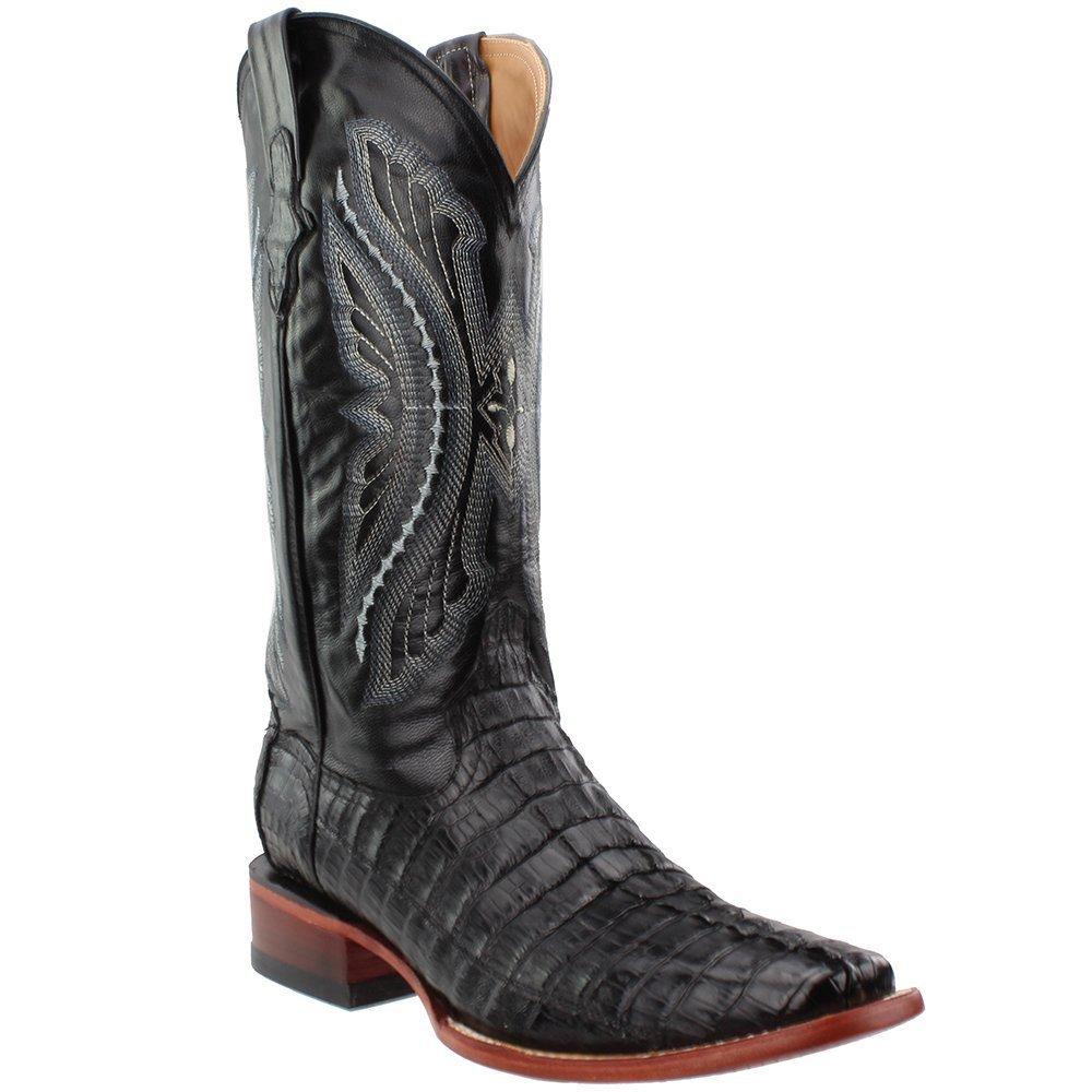 Ferrini Mens Caiman Croc Tail Sq Boots B00J7X0J8O 9.5 2E US|Black