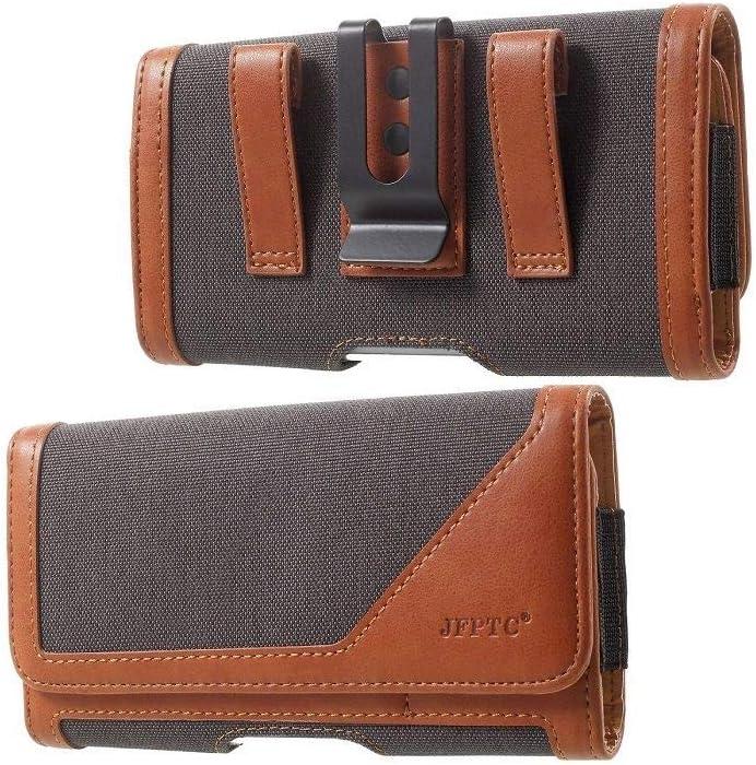 DFV mobile - Funda Cinturon Clip Metalico Horizontal Nuevo Diseño Textil y Piel para XIAOMI MI4C, MI 4C - Gris/Marron