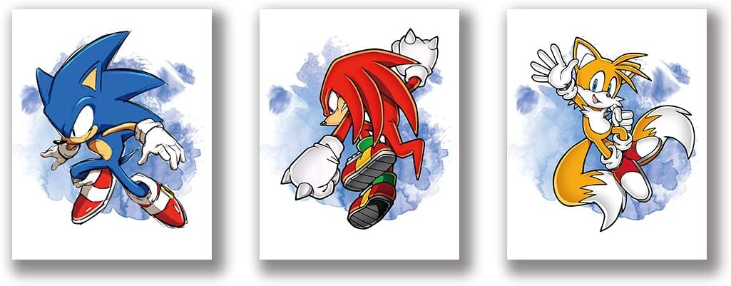 """VOUORON Cartoons Sonic The Hedgehog Art Painting Set of 3 (8""""X10""""Canvas Picture) Watercolor Graffiti Sonic Art Prints Used for Nursery Wall Poster Kids Boys Birthday Gift Game Room Decor Frameless"""