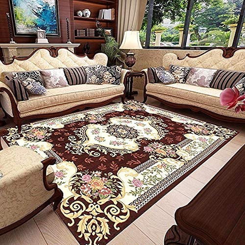 LISIBOOO Oriental Traditional Floral Area Rugs, Thick Soft Non Slip Large Carpet, for Living Room Dining Room Bedroom Sitting Room Entryway Hallway Doorway 6 6 x9 6 , Coffee