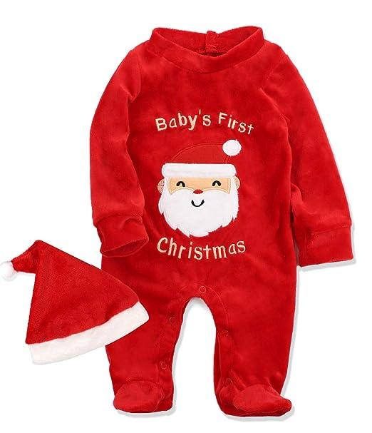 Amazon.com: Pijama de algodón con pie de Navidad para bebé y ...