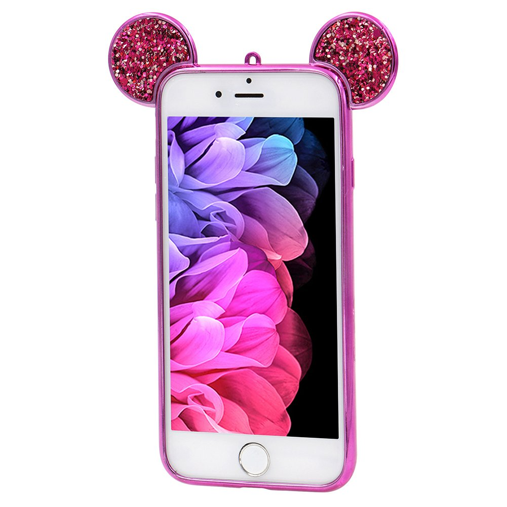 Girlyard For iPhone 6 / iPhone 6S Bling Diamond Silicone Case Cover Shiny Crystal Rhinestone Mouse Ears Soft TPU Protective Case 3D Novelty Design Ultra Slim Plating Frame Back Cover Black
