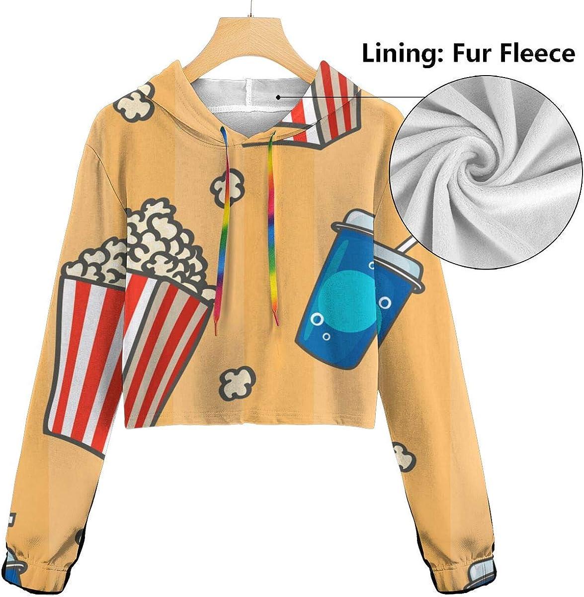 Womens Popcorn Bucket Crop Tops Pullover Hoodie Cute Long Sleeve Sweatshirts Hoody