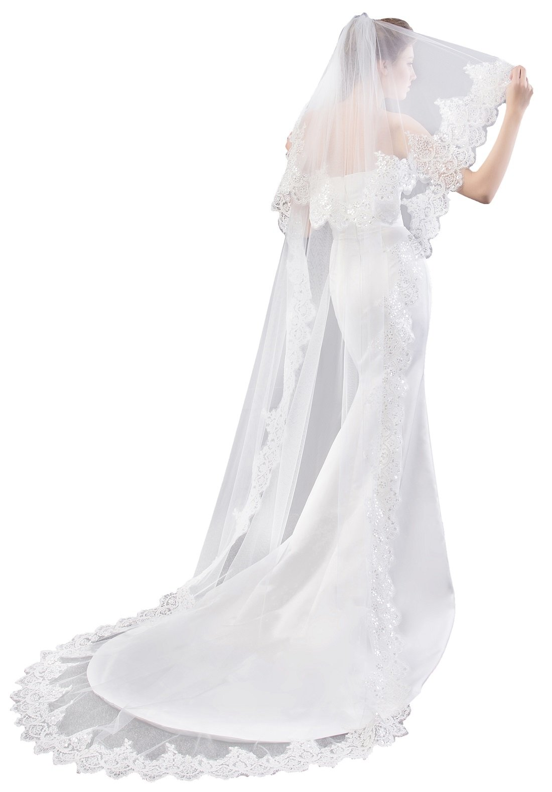 EllieHouse Women's Custom Made Long 2 Tier Wedding Bridal Veil With Free Comb White E74 by EllieHouse