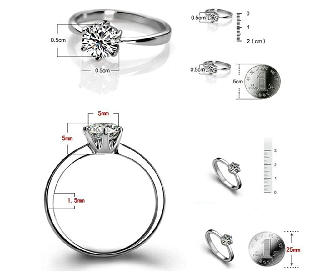 Aooaz Jewelry Silver Plated Rings Cubic Zirconia Princess Cut 6 Prongs Rings for Women Wedding Engagement Band