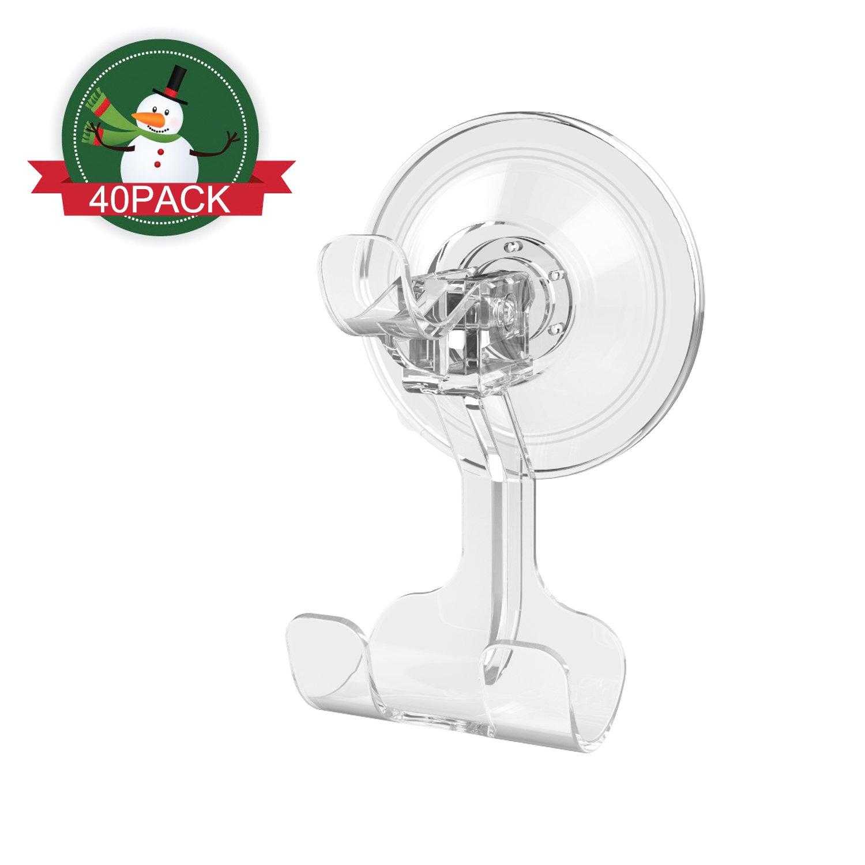 ilikable Suction Razor Holder Shower Suction Hooks Wreath Hanger Bathroom Sponge Loofah Towel Holder Removable Damage-free Wall Tile Hook for Home Kitchen Office Car, Clear / 40 Pack
