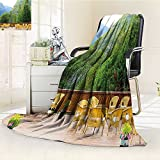 AmaPark Digital Printing Blanket Travel Tables and Chairs of Restaurant in Norway Mountains Green Mustard Brown Summer Quilt Comforter