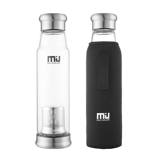 27 opinioni per MIU Color borraccia portatile 700 ml, grande capacità, in vetro e nylon, per