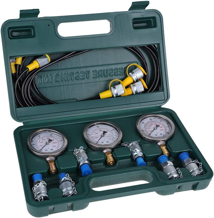 Portable Hydraulic Test Gauge,Pressure Test Guage Coupling and Gauge wosume Excavator Hydraulic Pressure Test Kit