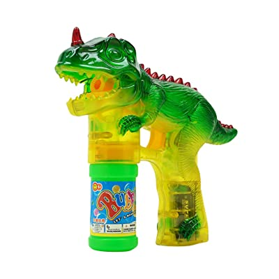 Dinosaur Bubble Shooter Gun Light Up Bubbles Blower with LED Flashing Lights Sounds Dinosaur Toys for Kids Boys Girls: Clothing