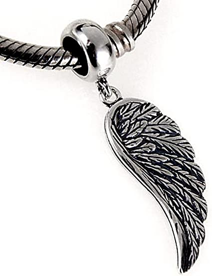 Angel Wing Charm Pendant Beads Fits Necklace Jewelry Making DIY Material Silver