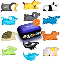 Aitsite Cable Protector Cute Animal Prime Cable Cord Saver Protector Mobile Phone Accessory (12-Piece, Hedgehog+Panda+Chameleon+Cat+Whale Shark+Dolphin+Killer Whale+Penguin+Koala+Squirrel+Sheep+Mouse)