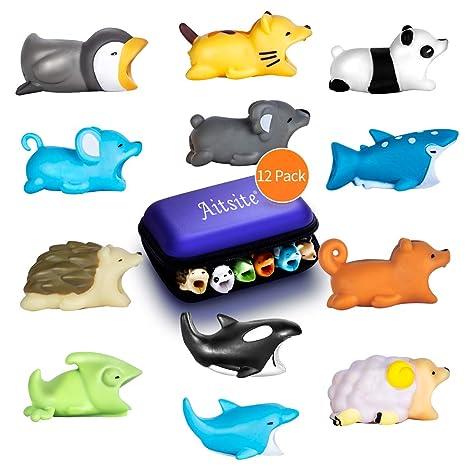 Aitsite Cable Bite Protector de Cable para iPhone Accessories (12-Paquete, erizo + panda + camaleón + gato + tiburón ballena + delfín + ballena ...
