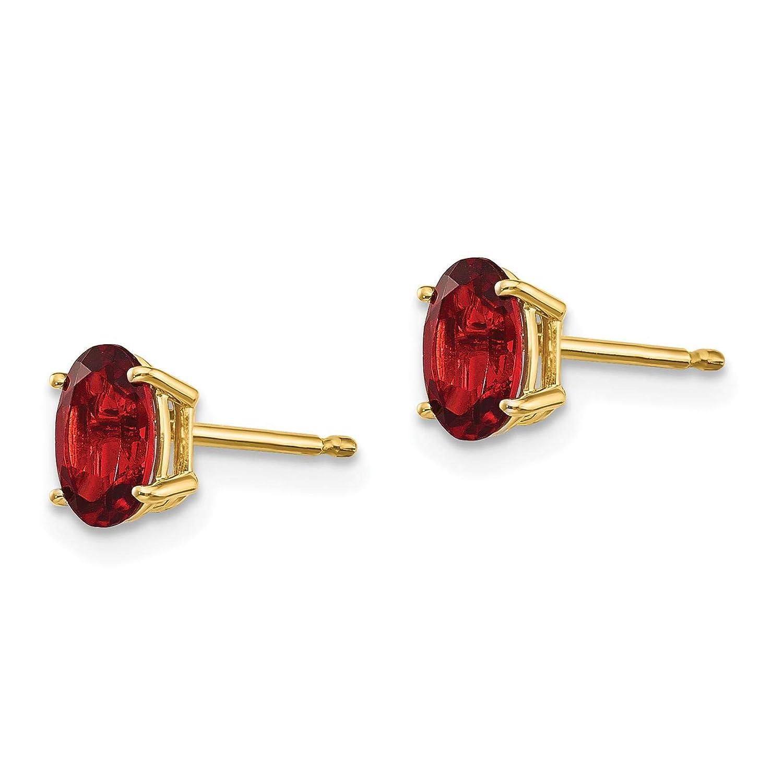 14K Yellow Gold Oval 6mm x 4mm Garnet January Stone Post Earrings