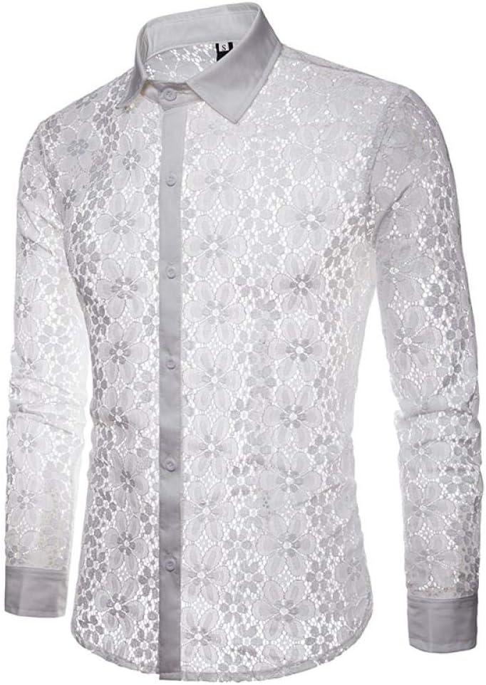 ZXIU Camisa De Hombre Camisa De Rejilla De Malla Transparente Camisa De Vestir De Manga Larga De Moda Fiesta De Hombres Realizar Camisetas De Calle: Amazon.es: Deportes y aire libre