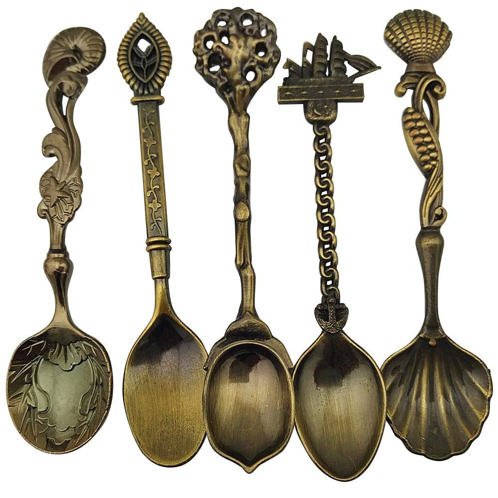 Spoons - 5 Pcs Set Dessert Spoon Dining Bar Vintage Royal Style Bronze Carved Small Coffee Flatware Cutlery - Biodegradable Duty Adults Clear Unique Utensils Wrapped Of Infant Dining