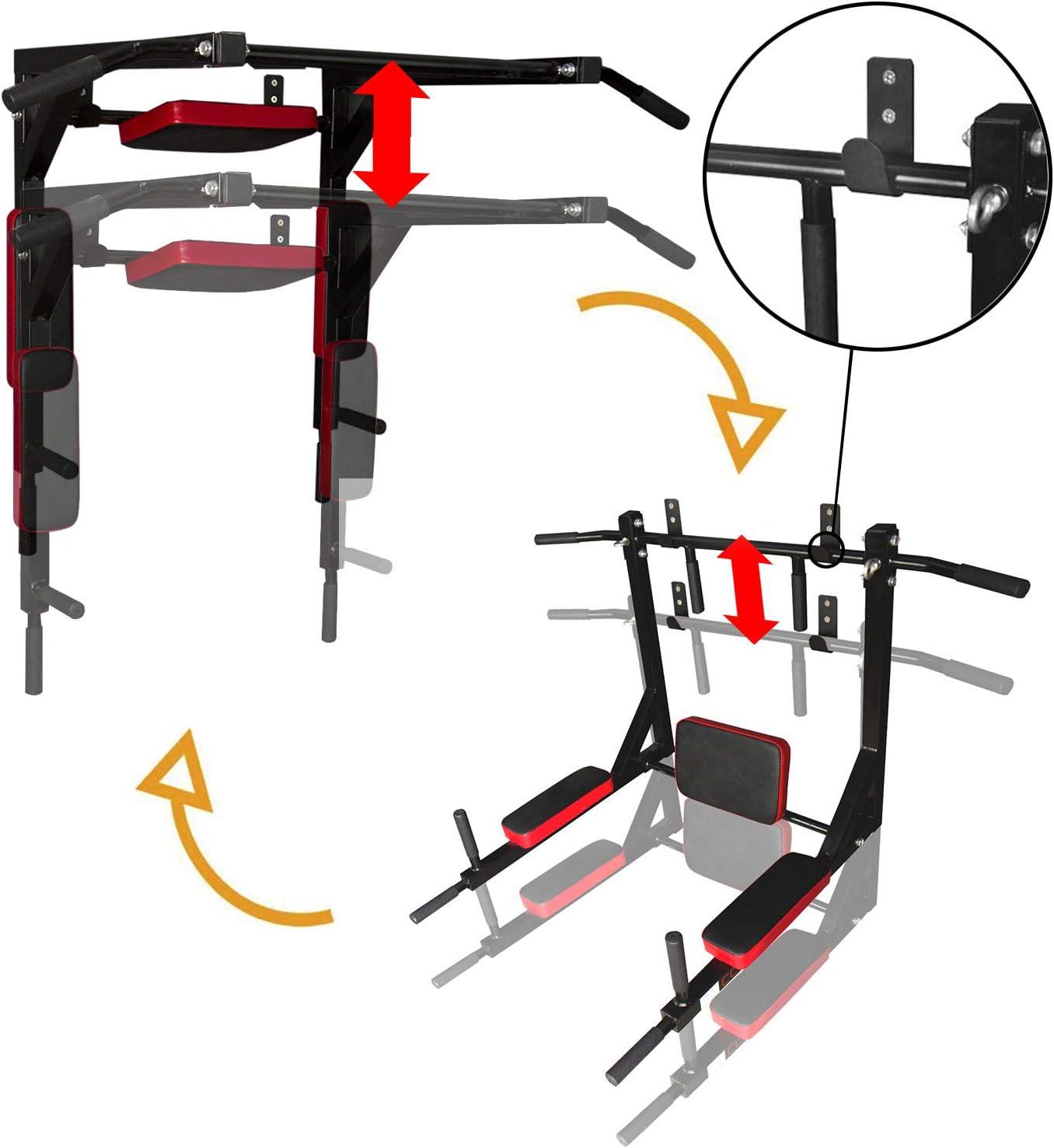 CCLIFE Multigriff Klimmzug Wandmontage Dip Station 2in1 Pull Up Bar Klimmzugstange Wand Belastbarkeit bis 200 kg Fitnessger/äte Wandbefestigung