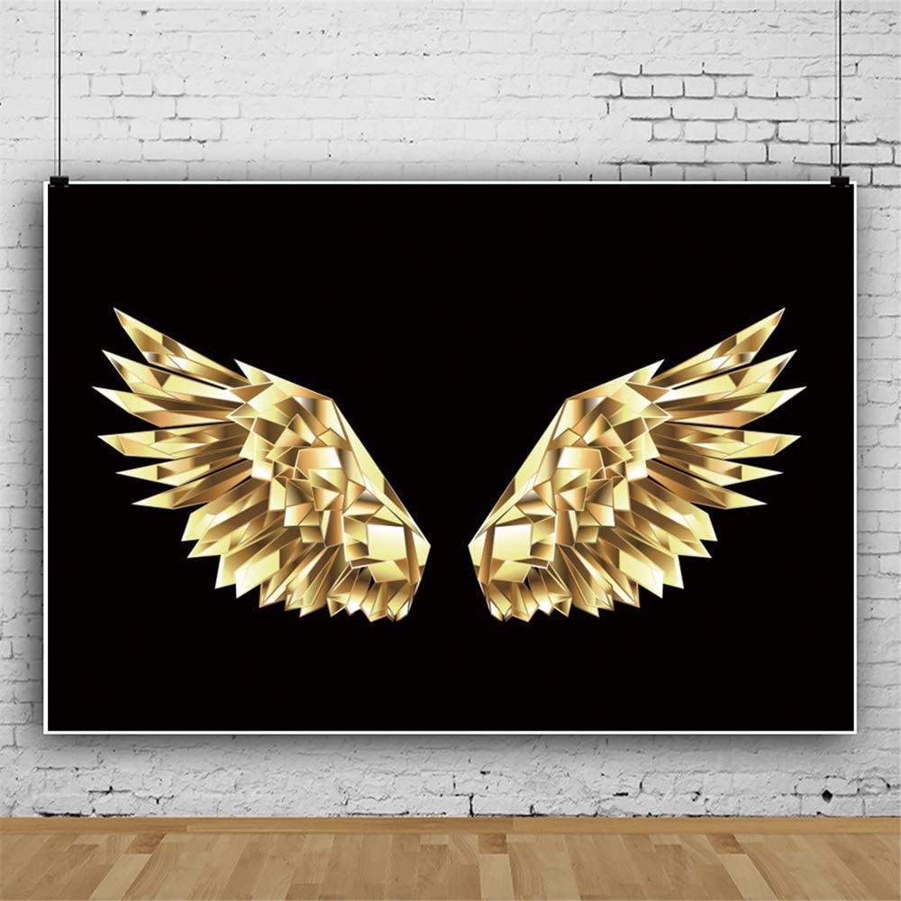 DORCEV Polyester 7x5ft Angel Wings Backdrop Birthday Party Baby Shower Background Shiny Glitter Golden Wings Makeup Party Banner Wallpaper Kids Children Adult Photo Studio Props