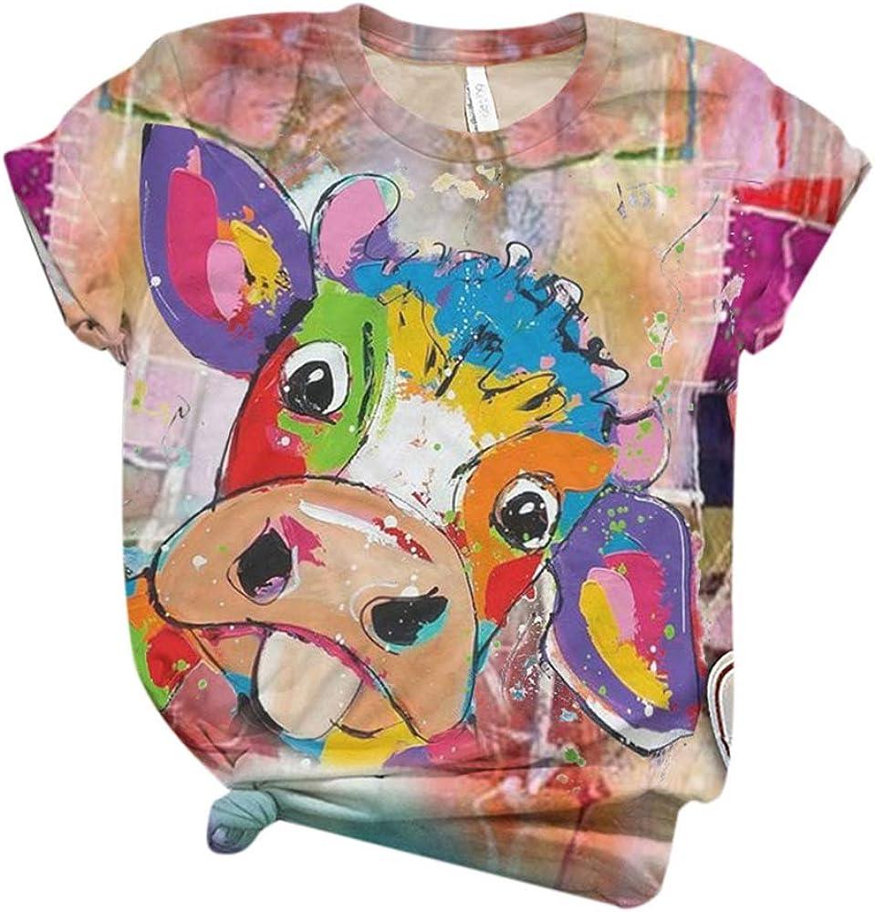 Camisetas Divertidas Mujeres Vaca Colorida Buey Toro Estampado Camisa bendecida con gráficos Divertidos inspiradores Camisetas de niñas Adolescentes Tops S-XXXL: Amazon.es: Ropa y accesorios