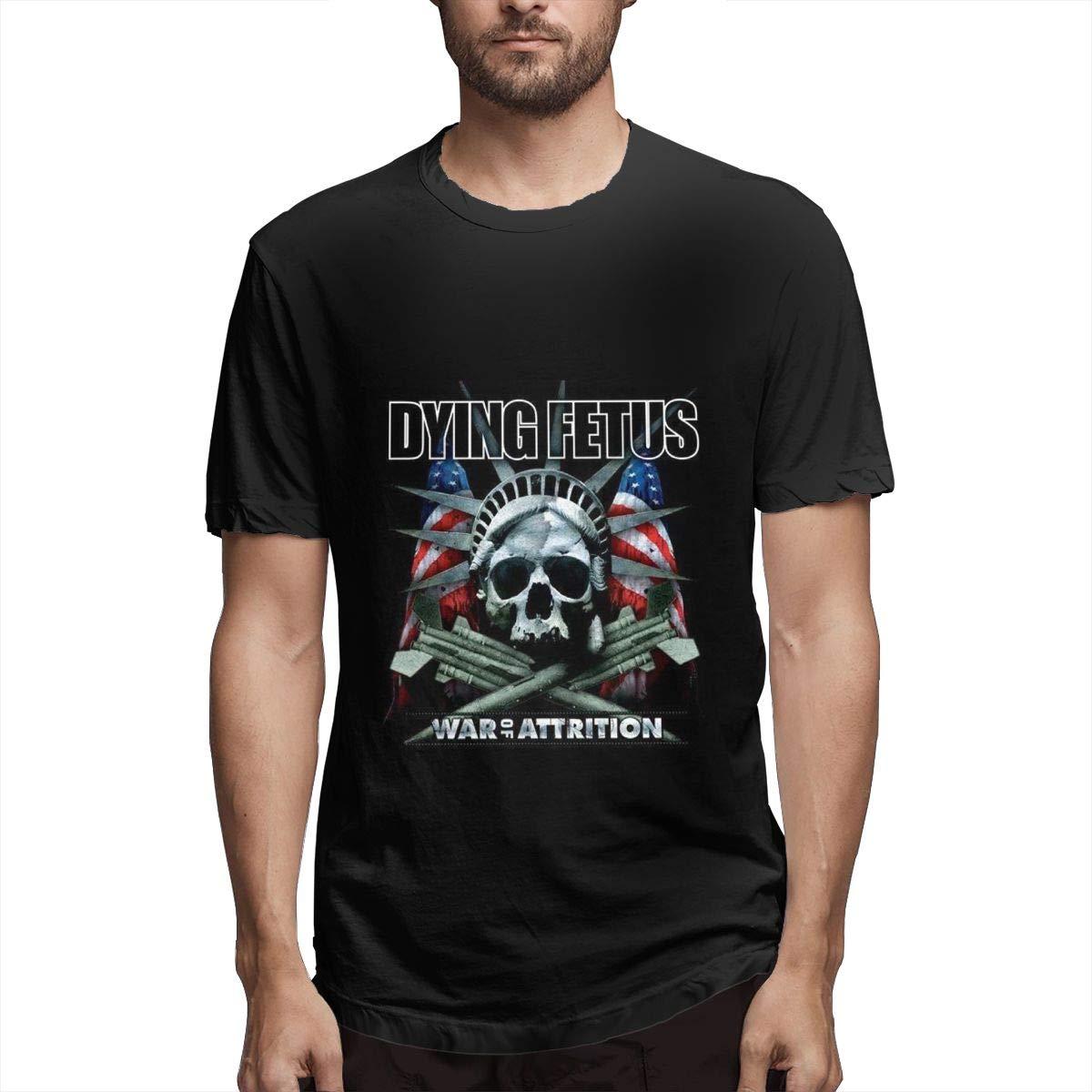 Lihehen Man Dying Fetus Retro Printing Round Neck T Shirts