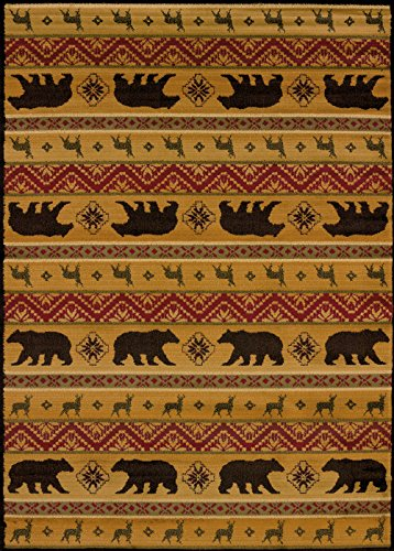 United Weavers of America Affinity Collection Nordic Bear Rug, 1-Foot 10-Inch by 3-Feet, Spice