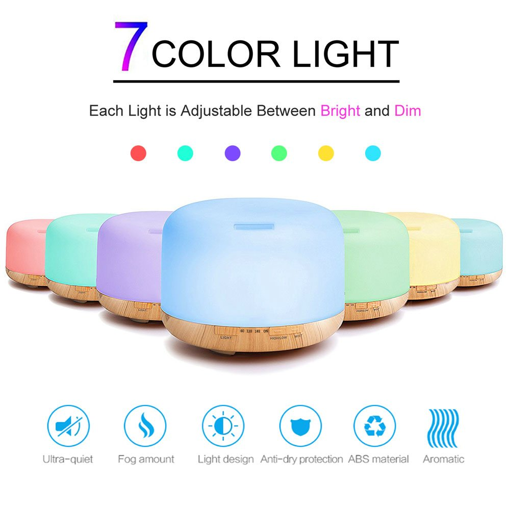 COSSCCI 500ML Aromatherapy Essential Oil Diffuser, Ultrasonic Diffuser Cool Air Mist Humidifiers for Baby Bedroom Home Office, 7 Colors Night Light,Auto Shut-off,Time setting