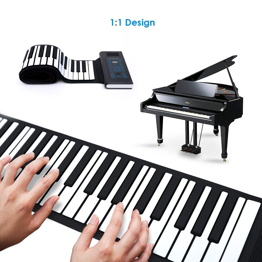 Roll Up Piano Folding Portable Keyboard   61Keys   Music Gifts for Women Men Girl Boys Kids   Educational Toys Gift Set   Digital Beginner Piano by Igloo Essentials (Image #2)