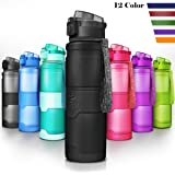 Best Sports Water Bottle Leak Proof 1L/700ml/500ml/400ml Plastic Drink Bottles|Kids,Adults,Gym,School,Sport,Cycling| with Times to Drink & Fruit Infuser Filter & Lock Cover|BPA Free Reusable Large