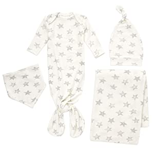 aden + anais Snuggle Knit Newborn Gift Set with Knotted Baby Gown, Swaddle Blanket, Infant Hat, and Bandana Bib, 0-3 Months, Star