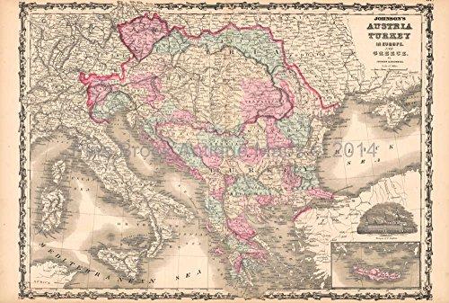 - Austria Turkey Antique Map AJ Johnson 1862 Original Austro Hungarian Decor Housewarming Holiday