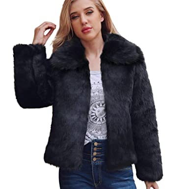 5a77f4d657e50 Clearance KEERADS Women Coat Vintage Winter Warm Fluffy Faux Fur Jacket  Outwear(Black
