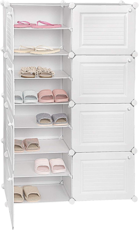 eSituro SSHR0053 Meuble /à Chaussures modulaire Blanc Range-Chaussures dentr/ée /à 8 Niveaux Commode Grande capacit/é pour Rangement 84x32x124cm