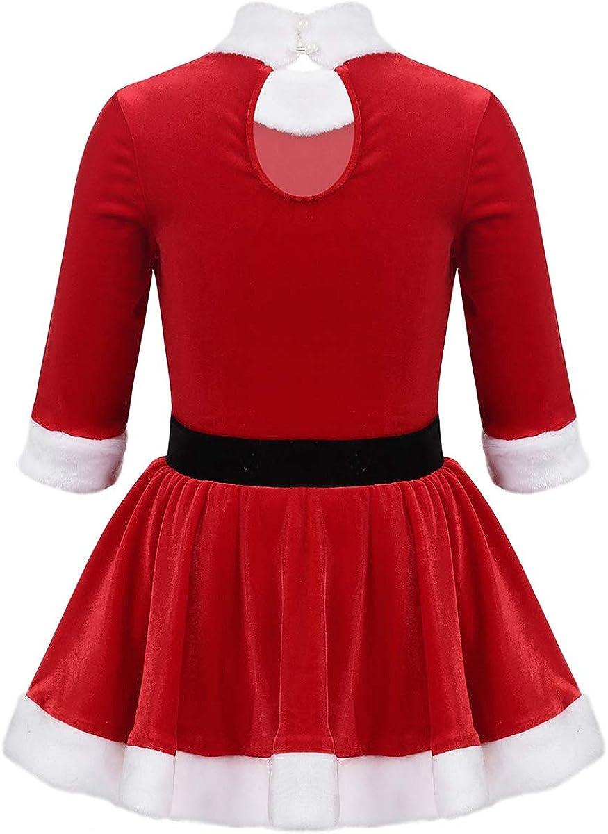 CHICTRY Girls Santa Claus Princess Dance Party Dress Christmas Holiday Velvet Tutu Dancewear Costumes