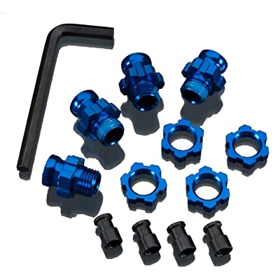 Traxxas 5853X Blue-Anodized Aluminum 17mm Wheel Hub adapters, (set of 4): Toys & Games [5Bkhe0906714]