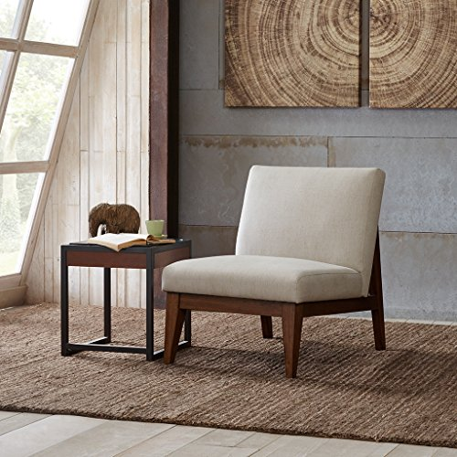 Kari Slant Back Wood Accent Chair Cream See below
