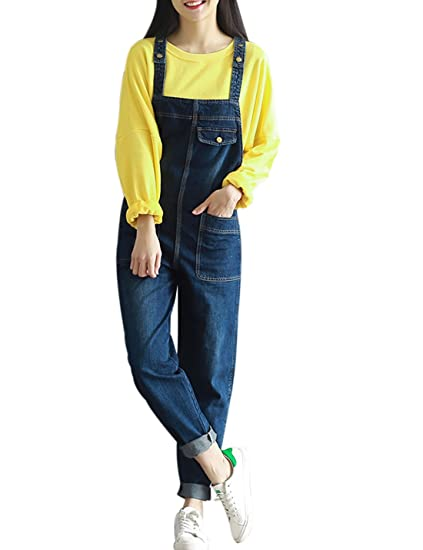 f148a3e570dc Yeokou Women s Casual Denim Jumpsuit Rompers Overalls Harem Pant Jeans Plus  Size (X-Small