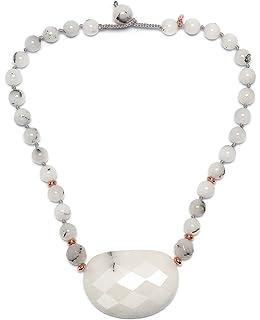 Lola Rose Vintage Botanics Candy Floss Mont Agate Short Pendant on a Chain Necklace of Length 50-60cm