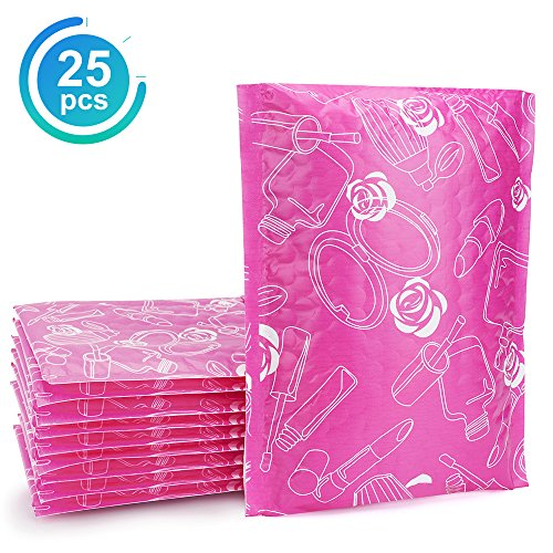 Fu Global Bubble Mailers 6x10 Pink Padded Envelopes Rose Bubble Envelopes Pack of 25 (Pink 10 Envelopes)
