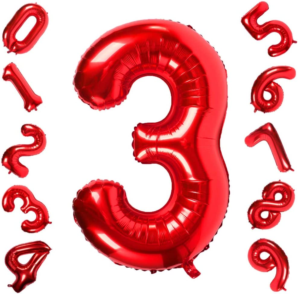 8 Red 40Inch Number 8 Helium Balloon,Foil Balloons for Birthday Party Decorations