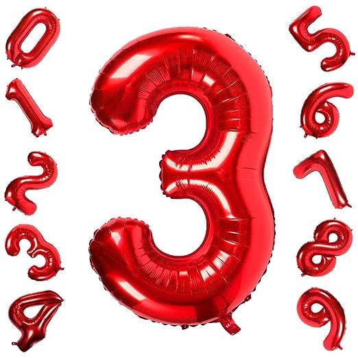 42 Pulgadas Grandes Globos Rojos Números 3, Jumbo Foil Helium Globos Digitales para Cumpleaños Fiesta de Aniversario de Boda Festival Decoraciones