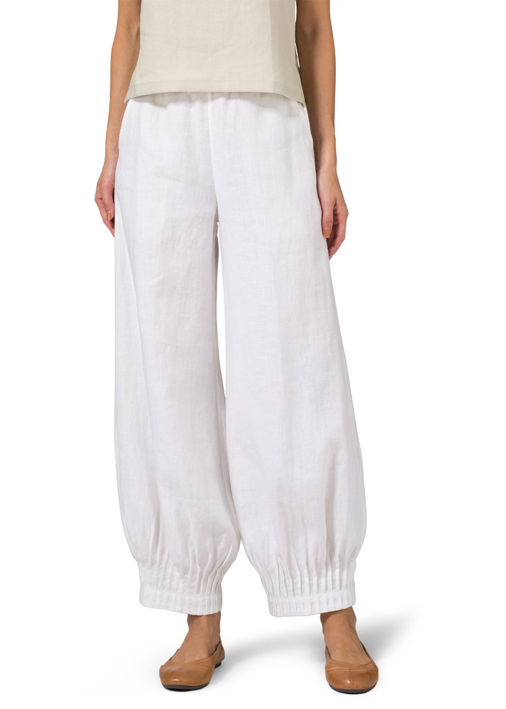 Vivid Linen Pleated Cuff Ankle Length Pants-M-Soft White