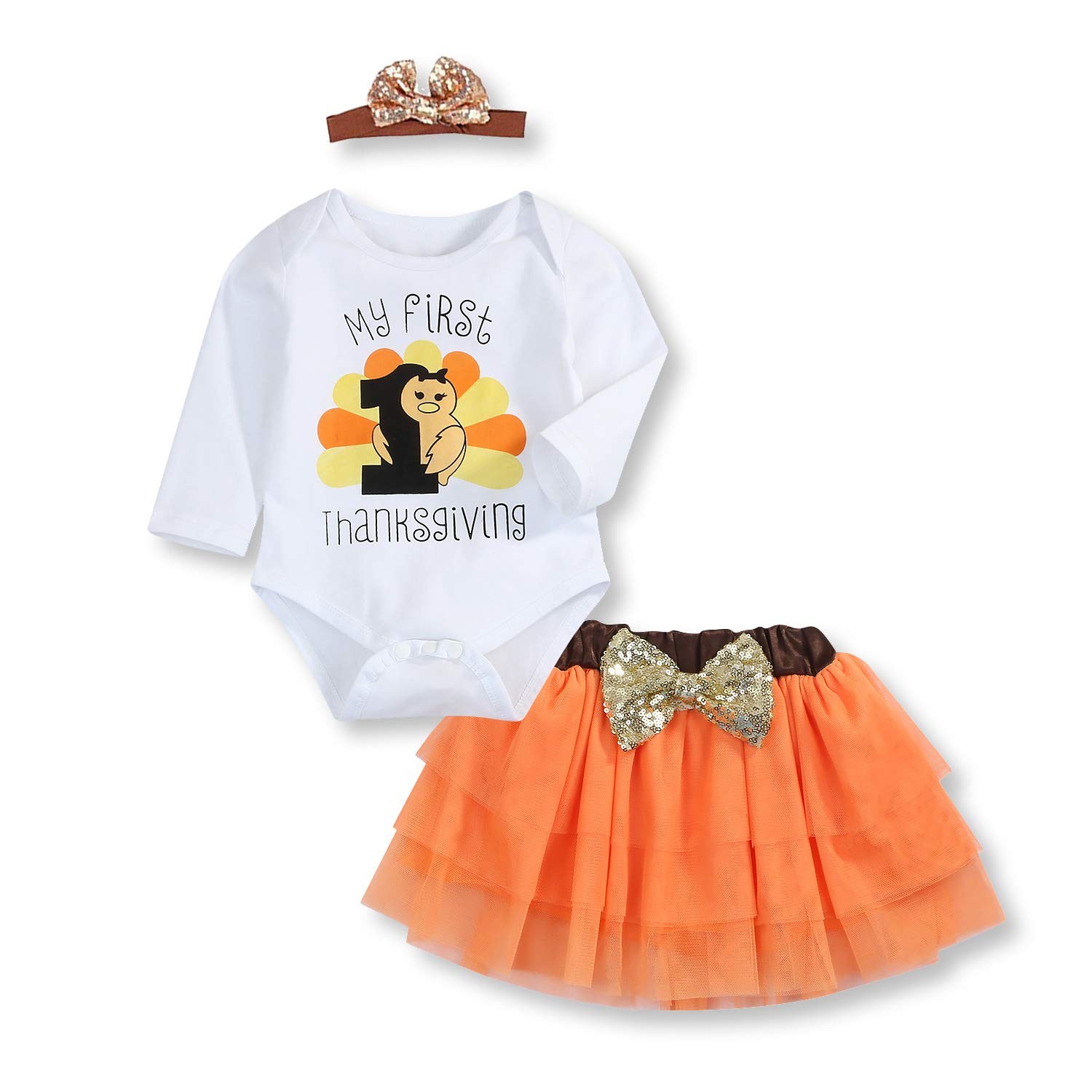 3Pcs Baby Girl My First Thanksgiving Outfit Turkey Print Romper+Skirt+Headband Clothes Set