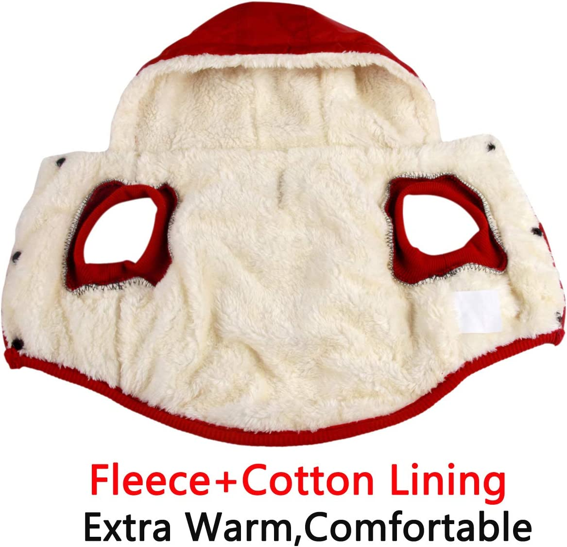 JoyDaog Warm Fleece and Cotton Lining Dog Hoodie in Winter,Small Dog Jacket Puppy Coats with Hooded,Red S